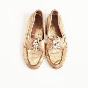 SPERRY Topsider Gold Leather Shoes Size 8 M